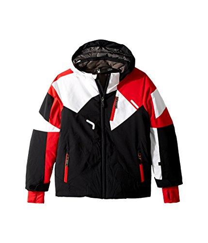 Spyder Kids Boy's Leader Jacket (Big Kids) Black/Red/White 12 by Spyder