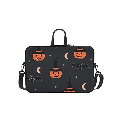 Cute Halloween Night Briefcase Laptop Bag Messenger Shoulder Work Bag Crossbody Handbag for Business Travelling
