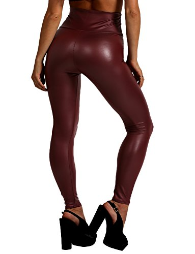 J. LOVNY Womens Faux Leather High Waist Leggings Made in USA S-3XL