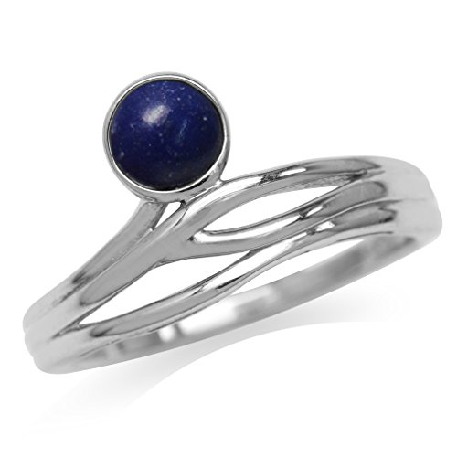 (5MM Genuine Round Shape Blue Lapis 925 Sterling Silver Minimalist Modern Wavy Ring Size 6)
