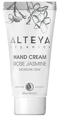Organic Moisturising Cream - Alteya Organic Moisture Dew Hand Cream 90ml - Certified Organic hand skin treatment cream with rose water and jasmine extract, moisturising and softening