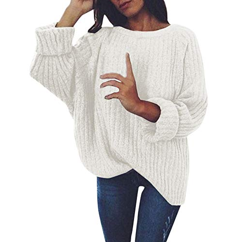 CUCUHAM Women's Knitted Deep O-Neck Long Sleeve Wrap Front Loose Sweater Pullover Jumper(White,XX-Large) -