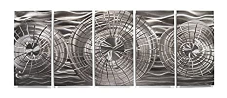 Amazon com: Metal Wall Art Abstract Modern Silver Contemporary Home