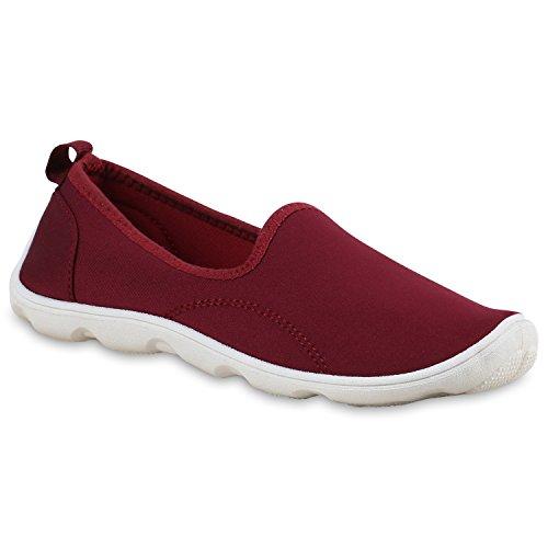 Stiefelparadies Sportliche Damen Sneakers Slipper Bequeme Slip-Ons Profilsohle Flandell Dunkelrot Dunkelrot