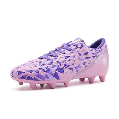 DREAM PAIRS Girls HZ19003K Soccer Football Cleats Shoes Pink Purple Size 1 M US Little Kid