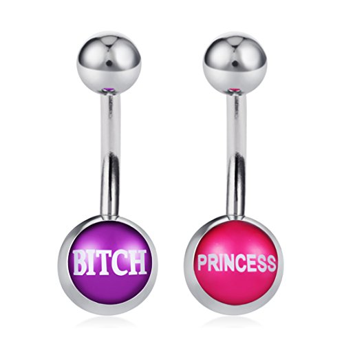 COTTVOTT Belly Button Rings with Cute and Sexy Letters Navel Piercings Body Jewelry (2pcs A)