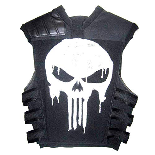 Vikings Fashion Halloween Parties Vest | Skull Logo Real Leather Parties Vest Real Leather Vest | Black Biker Leather Vest (M) -