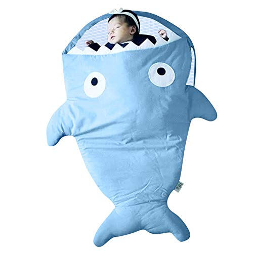 Birdfly Super Cute 12-24M Infant Baby Boys Girls Cartoon Shark Star Sleeping Bag Swaddle Striped Swaddle Muslin Wrap Sleep Sack (Starfish, Blue) -