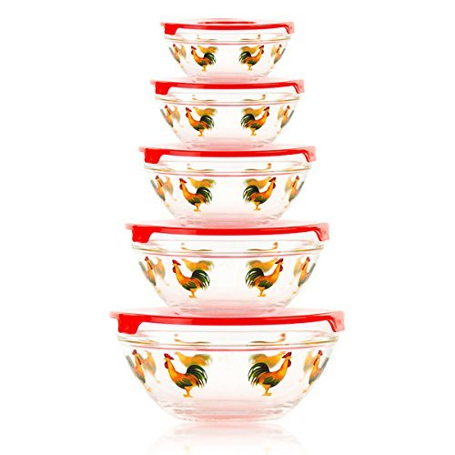 5-Piece Stackable Rooster Design Glass Storage Bowl Set With Snap Tight Lid, BPA Free and Dishwasher (Roosters Kitchen)