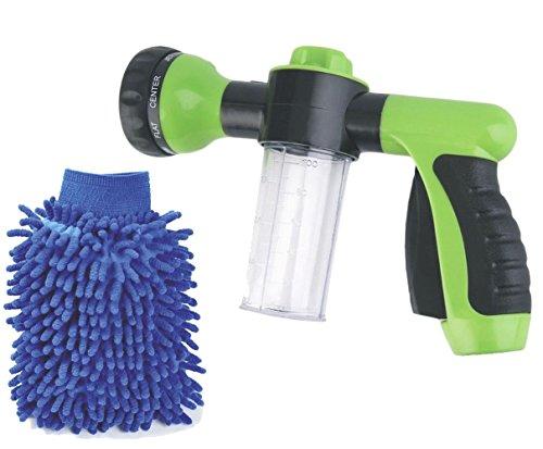 Buyplus High Pressure Garden Hose Foam Nozzle - Snow Soap Car Washer Water Sprayer Gun Kit with Scrubbing Mitt, Cleaning Cannon, 8 adjustable (Cannon Gun)