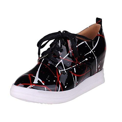 AllhqFashion Haut Rond Chaussures Femme Mélangées PU Cuir Légeres Talon à Lacet Couleurs qrU6Cwxr