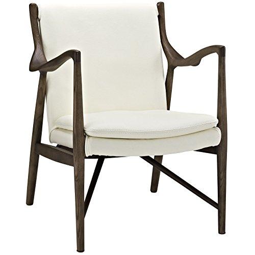 Modway Makeshift Leather Lounge Chair, Walnut Cream