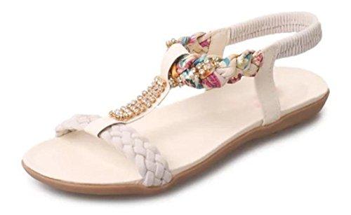 Verano sandalias abiertas superficie blanda con sandalias planas bajo para ayudar a sandalias de las mujeres de la universidad White