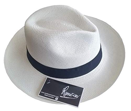 "Sombreros Roman Jipijapa The ""True"" Panama Hat Handwoven in Ecuador, Fedora Style, Natural or White Color, Grade 2, Manufactured Since 1975. (Medium:57-58cm, White) ()"
