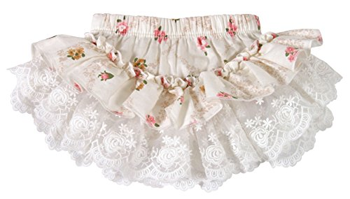 Rosebud Charms 2 - Stephan Baby Vintage Floral Lace Trimmed Ruffled Diaper Cover Skirt, Pink/Cream Mini Rosebuds, 0-6 Months