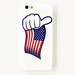 Zaki Punk American Flag Stripes Stars Thumb Pattern Plastic Hard Case for iPhone 5/5S