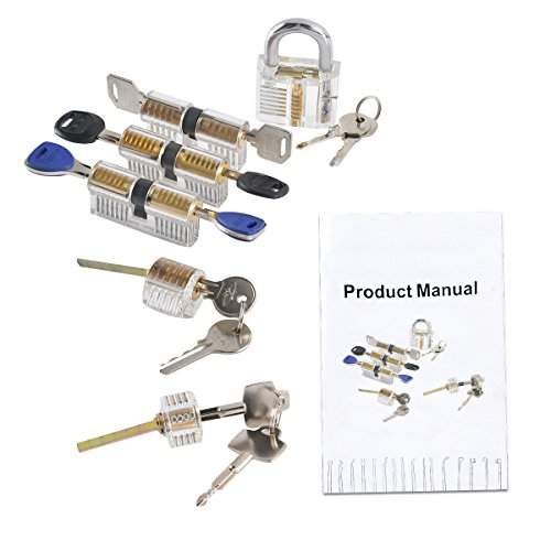 XINRUI 6 Pcs Practice Padlock, Visible Transparent Crystal Cutaway Padlock,Improving Training Skill For Locksmith