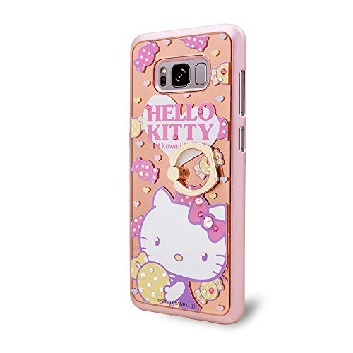 ello Kitty Case,Crystal Swarovski,Authorized Japanes Sanrio,Mirror Ring Stand case & Metal Ring Holder Kickstand(360° Adjustable Ring Stand Grip) - Candy Kitty ()