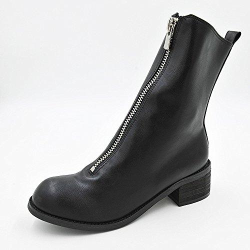 cabeza grueso Martin cremallera la botas Martin frontal calle frontal cremallera redonda botas botas con color Polar 34 de sólido de negro n6xnzgq
