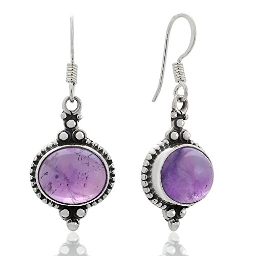 925 Sterling Silver Amethyst Gemstone Indian Inspired Vintage Oval Dangle Hook Earrings 1.5