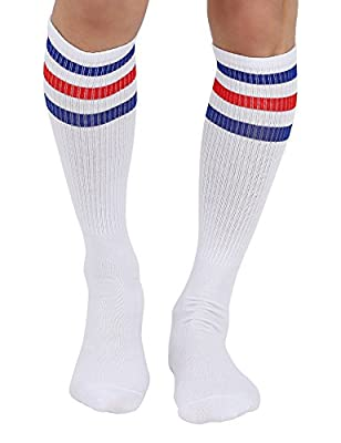 Joulli Triple Stripes White Knee High Tube Socks 1-3 Pairs