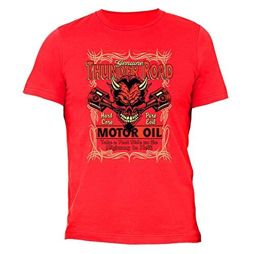 XtraFly Apparel Men's Genuine Thunder Road Devil Biker Motorcycle Crewneck Short Sleeve T-Shirt