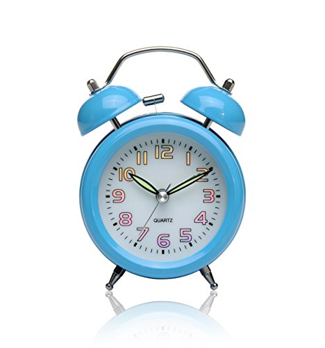 Peakeep 3 Quot Small Twin Bell Alarm Clock With Colored Laser