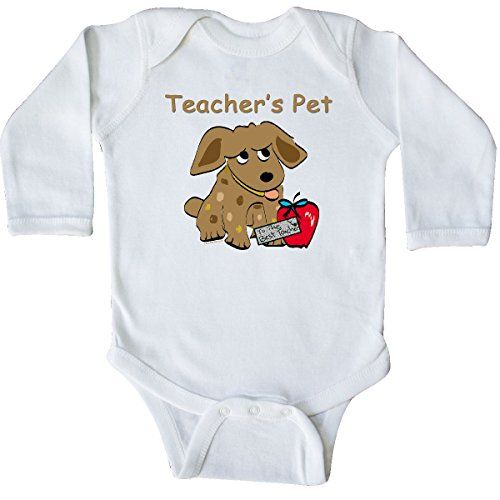 inktastic Teacher's Pet Long Sleeve Creeper 6 Months White