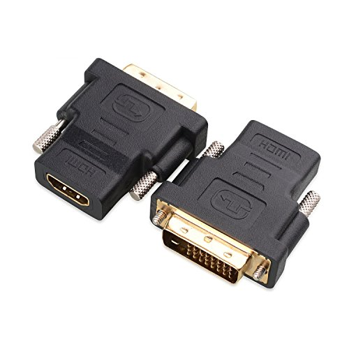 Socket Dvi (Cable Matters 2 Pack Gold Plated HDMI to DVI Adapter (HDMI Female to DVI Male))