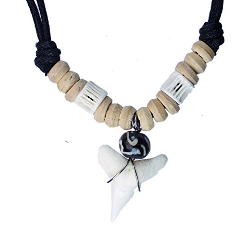 Exoticdream Real Shark Tooth Necklace Surfer Hawaiian Beach Boys Girls Men - Color White Bone (brown - Silver Sands Panama City Beach