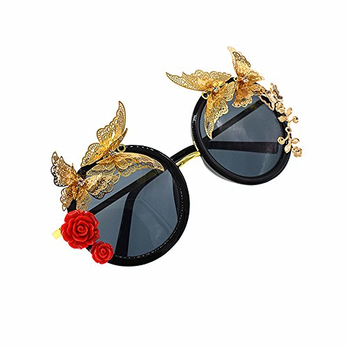 mano a Flower Color Gafas Rose sol Gold mujer Metal adecuado de hecha Style planos Gafas espejados Metal sol Mariposa Gafas de para Beach Fashion de y Retro roja Baroque ocio Lentes el para Show sol pt0HzqYwt