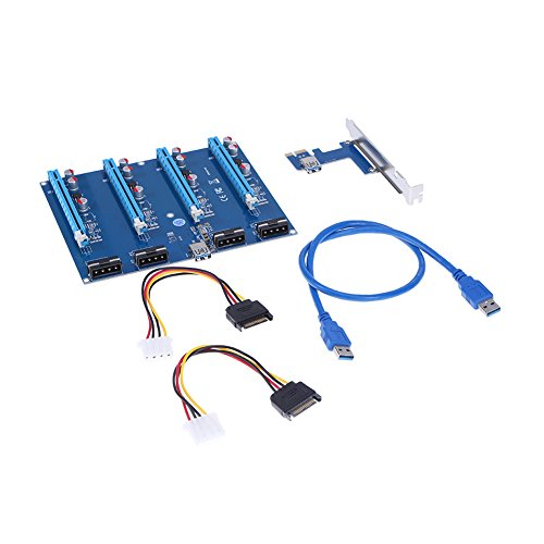 New PCI-E X1 to 4PCI-E X16 Expansion Kit, PCI-E Slots Adapter Extender Riser Card for BTC Mining Ethereum Mining (Ieee 1394 Expansion Board)