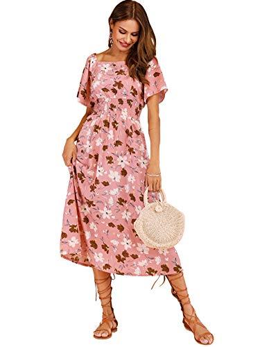 Milumia Women Boho Flounce Sleeve Square Neck Floral Print V Neck Party Shirred Dress Pink-3 S