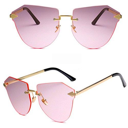 De Gafas Sol Moda Pink Brown Colorful Sol Gafas Casual Marco Ciclismo Océano Polygon De Gafas La De De del Irregular Teñido Recorte Gafas Grandes De Sin Xq5Y0x