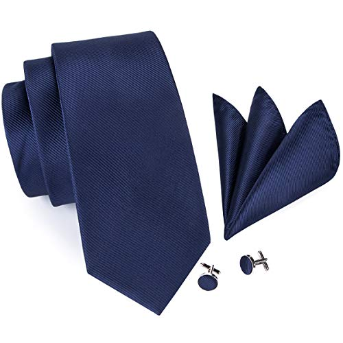 Hi-Tie Men Classic Navy Blue Solid Tie Pocket Square and Cufflinks Tie Set Wedding Tie