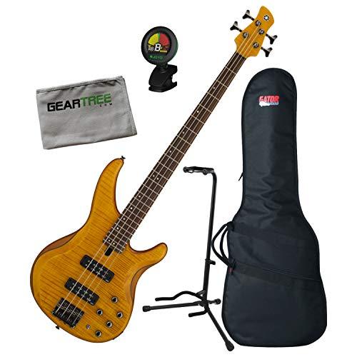 Yamaha TRBX604 4-String Matte Amber Flamed Maple Bass Guitar w/Bag, Stand, Clot