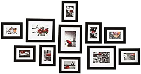 MVPOWER MDF Combinaison de Cadre Photo,Cadre Photo-Paroi Murale D/écoration Maison et Salle Capacit/é de 13 Photos Noirs