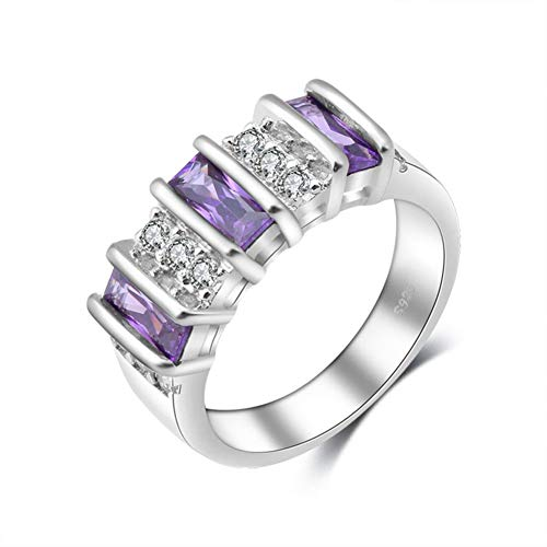 HCBYJ Lady ring Geometric Purple Austrian Crystal Wedding Ring Engagement Ring 925 Sterling Silver Ring Anniversary Jewelry