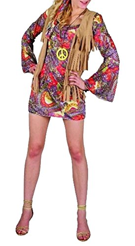Rimi Hanger Womens Woodstock Flower Girl Costume Ladies 1960 Hippie Girl Fancy Dress Outfit Woodstock Flower Girl Costume One (1960's Womens Hippie Dress)