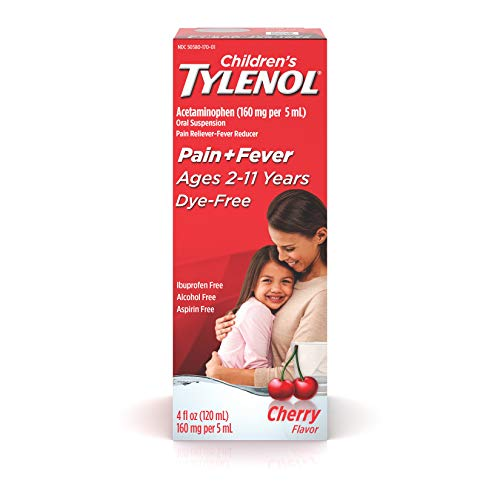 Children's Tylenol Oral Suspension Medicine, Acetaminophen Pain Reliever & Fever Reducer for Cold + Flu Symptoms & Sore Throat, Aspirin-, Ibuprofen-, Alcohol-& Dye-Free, Cherry, 4 fl. oz