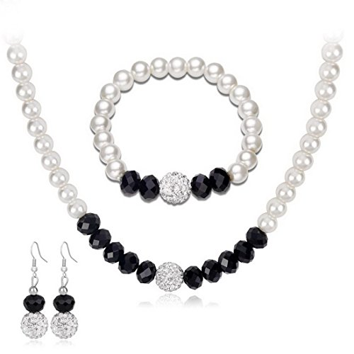 MJartoria Womens Black White Faux Pearls Necklace Earrings Bracelet Jewelry Sets (Black+White)