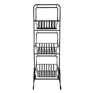 Gourmet Basics by Mikasa 5216453 Bristol 3-Tier Metal Fruit/Home Storage Basket, Floor Standing, Antique Black