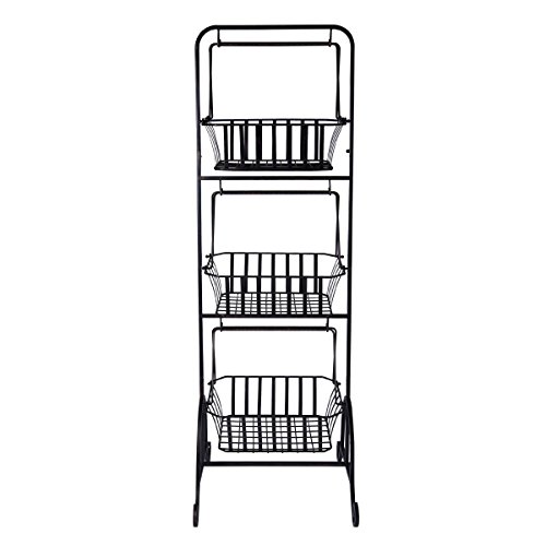 Gourmet Basics by Mikasa 5216453 Bristol 3-Tier Metal Fruit/Home Storage Basket, Floor Standing, Antique Black (Wire Tiered)