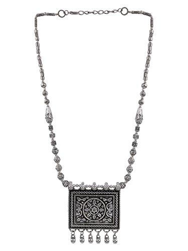 Efulgenz Boho Vintage Antique Ethnic Gypsy Tribal Indian Oxidized Silver Beaded Statement Tassel Pendant Necklace Jewelry by Efulgenz