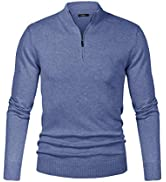 iClosam Maglioni Uomo Invernali Collo Alto con Zip Pullover Giacca in Maglia Maglione Sweater Inv...