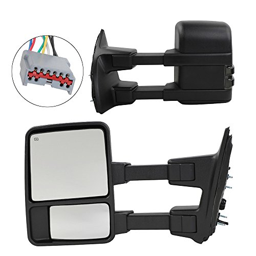 Upgrade Towing Mirrors for 1999-2007 Ford F250 F350 F450 F550 Super Duty Tow Mirrors Pair Set Power Heated Glass With LED Smoke Signal Telescoping Pickup Truck Side View Mirrors