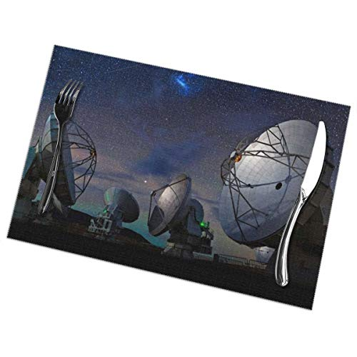 Placemats for Dining Table Set of 6 Radar Station Wear-Resistant Heat-Resistant Kitchen Table Mats 18