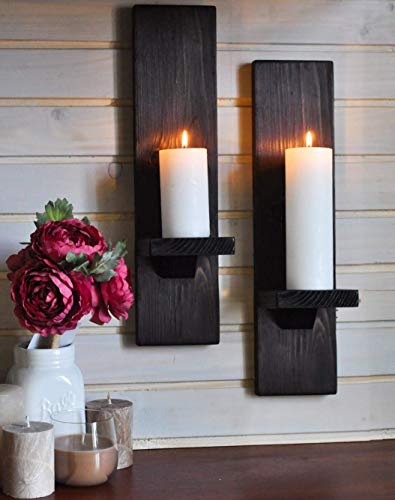 Handmade Rustic Wooden Candle Holders Set of 2, Large Hanging Dark Wood Pillar Sconce, Mounted Farmhouse Wall Decor, Small Shelf, Game Thrones Inspired Gift for Him or Her, Two