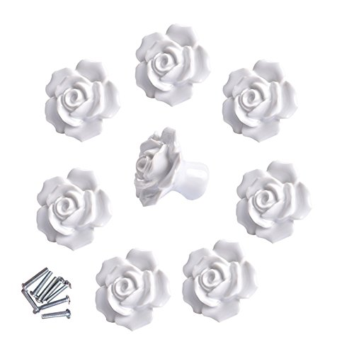 8 Pcs Ceramic Vintage Floral Rose Flower Door Knobs Handle Drawer Kitchen + Screws (White)