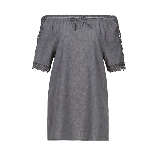 Mini Bigfoot Button (UONQD Woman Women's Short Sleeve Patch Pocket Dress Womens Floral Print Patchwork Casual Swing midi Sleeveless Adjustable Strappy Summer Flared Dresses Mini (Large,Dark Gray))